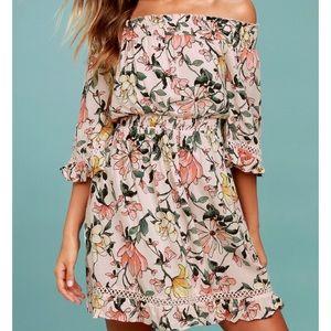 Lulu's Hello Darling Blush Pink Floral Print Dress